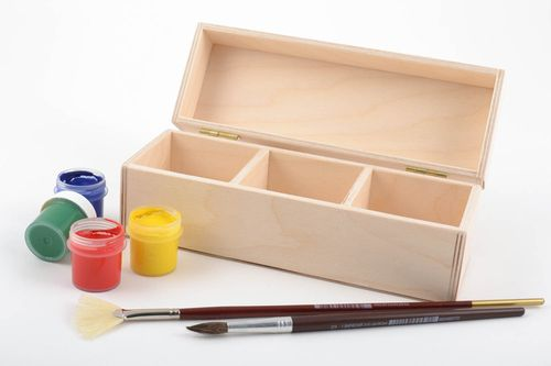 Handmade unusual blank for painting box with 3 sections made of plywood - MADEheart.com
