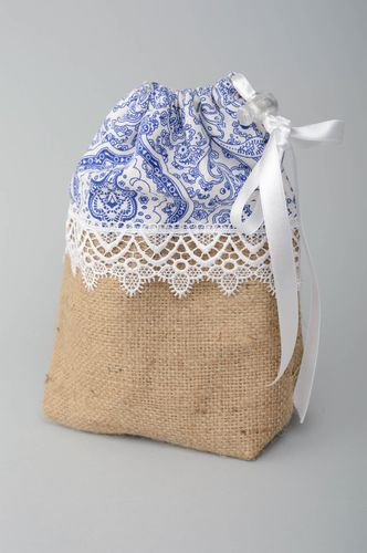 Fabric cosmetic bag made of burlap with lace - MADEheart.com