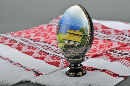 Decorative egg with a stand House and Mill - MADEheart.com