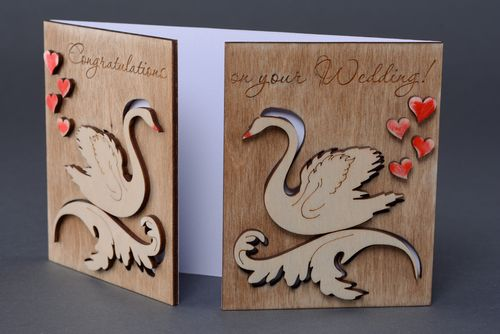 Beautiful carved plywood greeting card - MADEheart.com