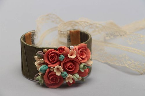 Unusual beautiful handmade wrist bracelet with plastic flowers and lace ribbon - MADEheart.com