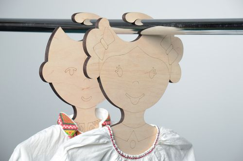 Unusual plywood childrens clothes hanger for painting - MADEheart.com