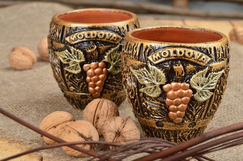 Set of interior clay glasses 200 ml handmade painted cups with grapes 2 pieces  - MADEheart.com