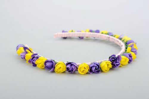 Headband with purple and yellow flowers - MADEheart.com