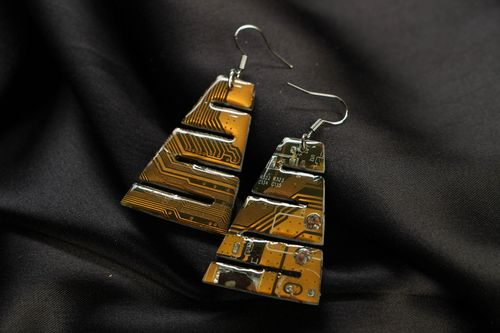 Long steampunk earrings with micro schemes - MADEheart.com