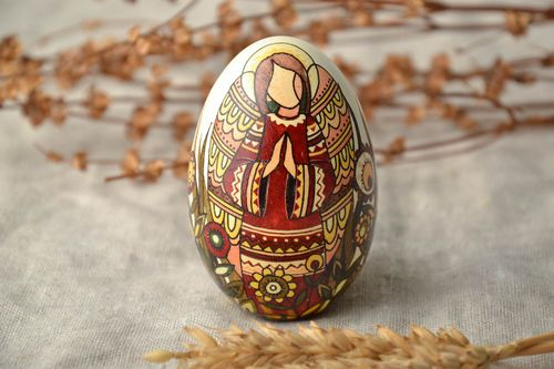 Easter egg designer goose pysanka made using wax technique - MADEheart.com