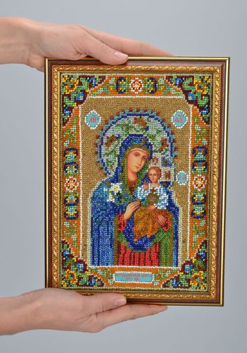 Icon of Holy Mary embroidered with beads - MADEheart.com