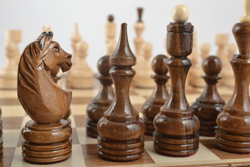 Unusual handmade wooden chessmen chess pieces board games best gifts for him - MADEheart.com