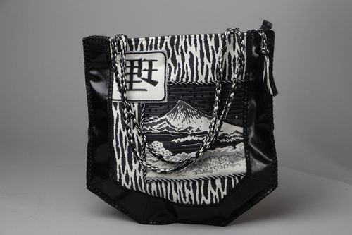 Leather bag with tapestry - MADEheart.com