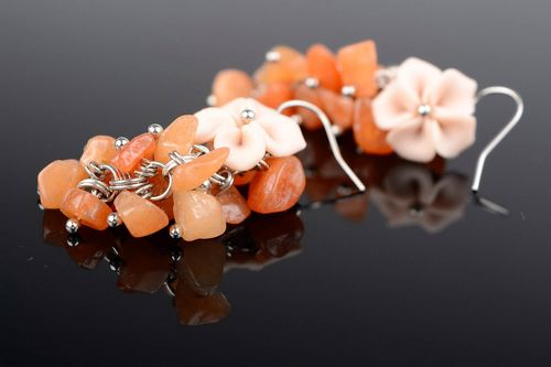 Earrings made of carnelian Stone bunch - MADEheart.com