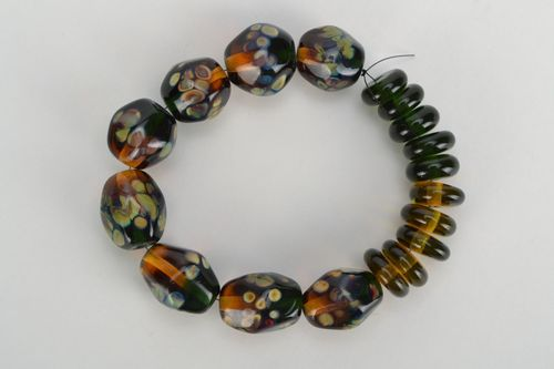 Lampwork beads in brown color palette - MADEheart.com