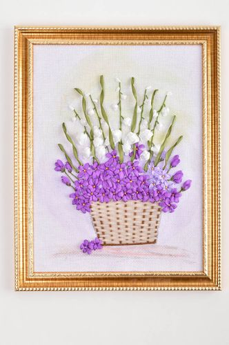 Handmade ribbon embroidery wall panel picture with flowers home interior decor   - MADEheart.com