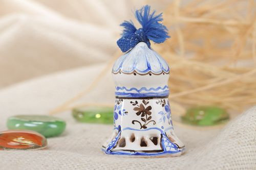Miniature handmade white and blue ceramic bell with Gzhel painting - MADEheart.com
