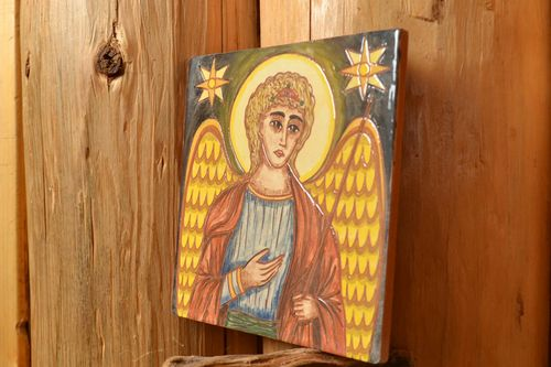 Ceramic tile painted with engobes Angel handmade decorative wall interior panel - MADEheart.com