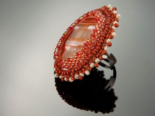 Ring with carnelian and beads - MADEheart.com