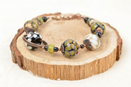 Unusual handmade beaded bracelet glass bracelet fashion accessories for girls - MADEheart.com