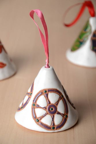 Unusual beautiful handmade designer clay bell with painting interior decor - MADEheart.com