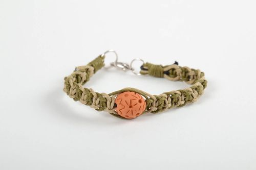 Stylish handmade braided cord bracelet wrist bracelet with clay bead gift ideas - MADEheart.com