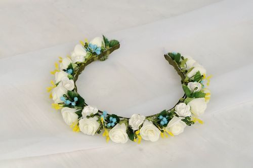 Headband with white and yellow flowers - MADEheart.com