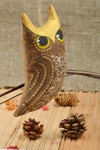 Scented handmade fabric soft toy owl with eyelet - MADEheart.com