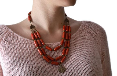 Long handmade gemstone bead necklace of red color with coral and brass - MADEheart.com