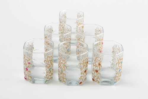 Set of handmade glasses stylish kitchen ware glasses for wine 6 pieces 330 ml - MADEheart.com