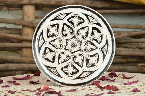 Decorative handmade painted ceramic wall plate with interesting design - MADEheart.com