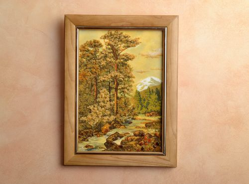 Amber decorated wall painting Mountain Landscape - MADEheart.com