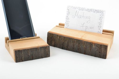 Handmade eco friendly wooden varnished stylish stands for gadgets set of 2 items - MADEheart.com