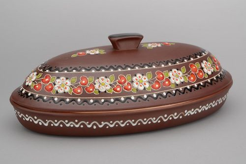 Clay bread bin with fresco - MADEheart.com