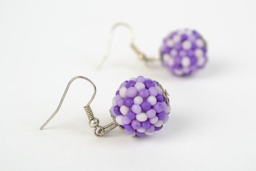 Handmade polymer clay dangling earrings with small balls of lilac color - MADEheart.com