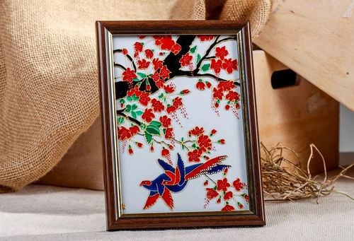Stained glass picture in wooden frame Bird of happiness - MADEheart.com