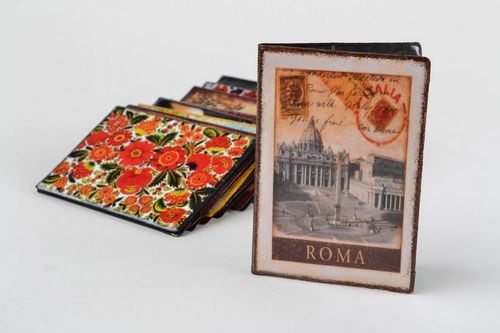 Handmade designer faux leather passport cover decorated with decoupage Roma - MADEheart.com