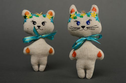 Interior decorations soft toys Couple of cats - MADEheart.com