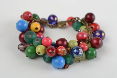 Handmade metal chain wrist bracelet with colorful glass and jadeite beads - MADEheart.com