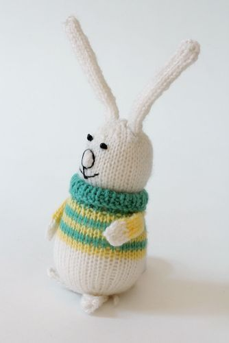 Knitted toy Baby rabbit in yellow-green sweater - MADEheart.com