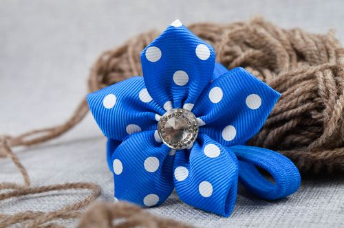Handmade headband rep ribbon scrunchies blue hair accessories for children - MADEheart.com