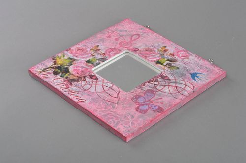 Beautiful pink handmade square mirror in decoupage wooden frame - MADEheart.com