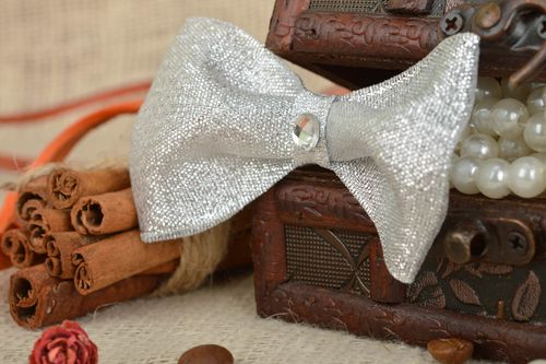 Handmade designer childrens hair clip with silver bow with rhinestones - MADEheart.com