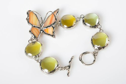 Handmade metal and glass wrist bracelet with butterfly womens colorful tender - MADEheart.com