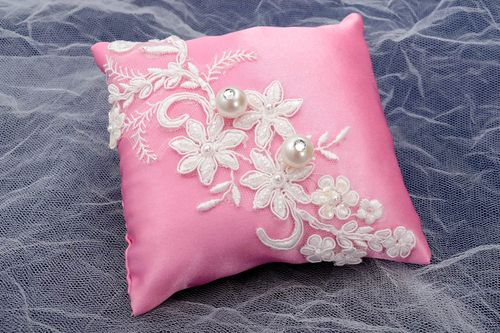 Handmade pillow designer wedding pillow handmade pillow for rings unusual pillow - MADEheart.com