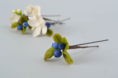 Self-hardening Thai clay hairpin Blueberry - MADEheart.com
