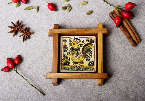 Decorative ceramic panel Rooster - MADEheart.com