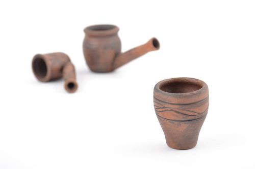 Small handmade designer clay hookah bowl with patterns - MADEheart.com