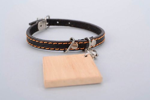Leather collar with a token - MADEheart.com