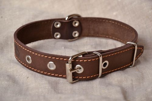 Leather dog collar with embossing - MADEheart.com
