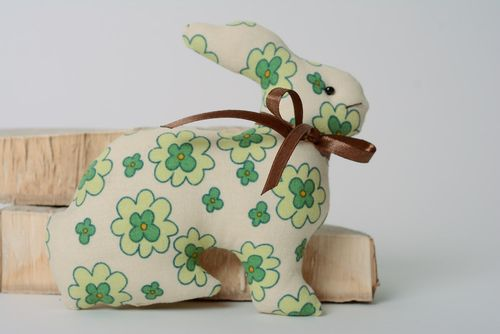 Handmade cotton fabric soft toy hare of green color with flower print - MADEheart.com