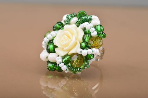 Large handmade green beaded ring with white decorative flower for women - MADEheart.com