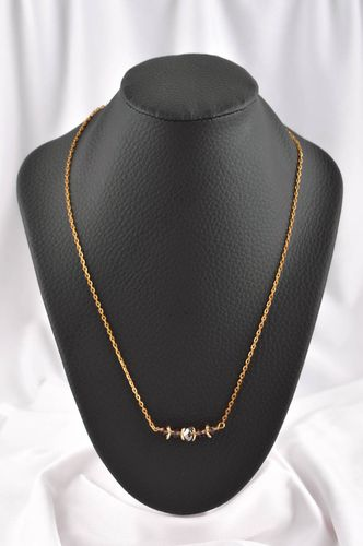 Handmade necklace of gold color beaded necklace fashion jewelry crystal jewelry - MADEheart.com