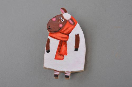 Bright handmade painted wooden brooch in the shape of funny sheep - MADEheart.com
